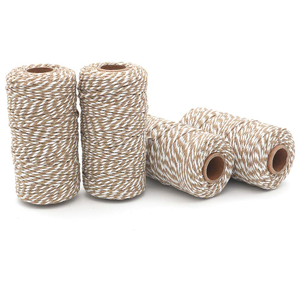WINGONEER 4pcs 100M Wine String White WINGONEER® Durable Cotton Bakers Twine Heavy Duty Cotton Crafts Twine 2 mm for Packing Twine String Decorations Khaki
