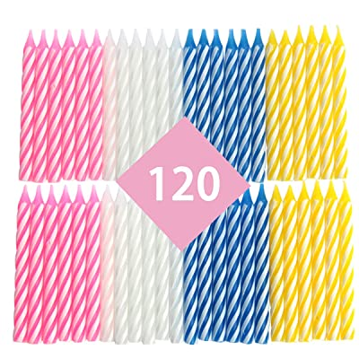 Ira Pollitt Colorful Striped Spiral Birthday Candles, 120 Pcs Cake Decorations Cupcake Candles for Wedding Party Cake Decorations,Birthday, Party, Christmas, Celebration (Pink, White, Blue, Yellow): Home Improvement [5Bkhe0804265]