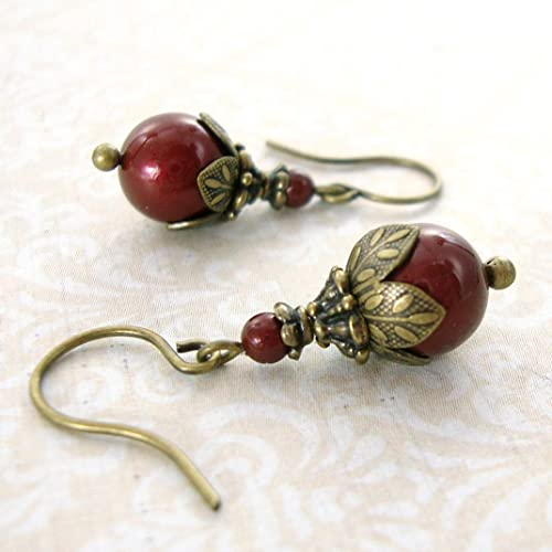 faabe59df Amazon.com: Burgundy Victorian Swarovski Crystal Simulated Pearl Earrings  with Antiqued Brass: Handmade