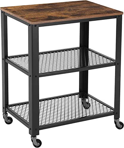 Benjara 3 Tier Wooden Serving Cart