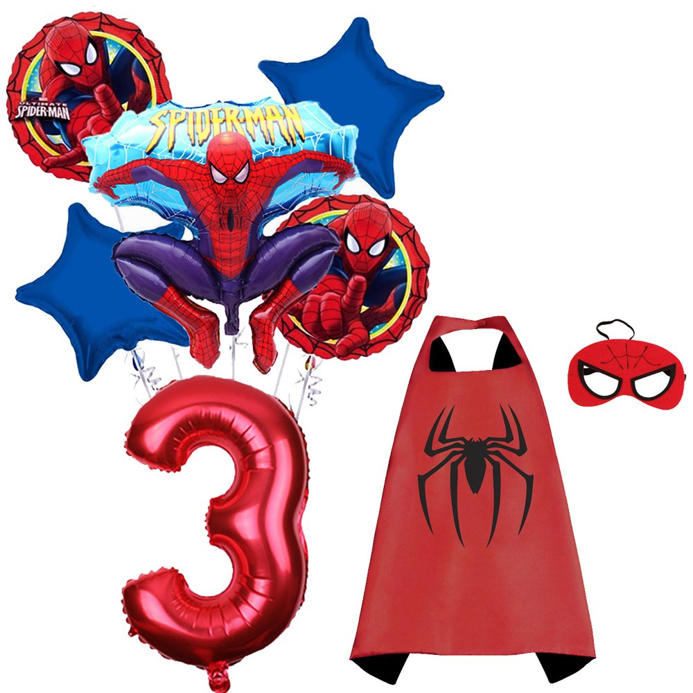 CuteTrees Spiderman 3rd birthday party balloons party supplies party decoration birthday decorations and super hero cape and felt mask and number ...