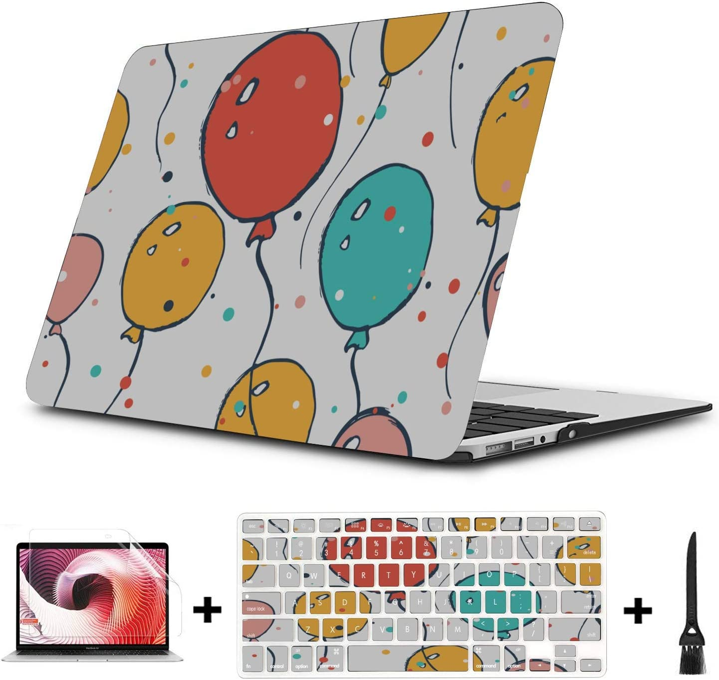 MacBook Laptop Cover Surprise Colorful Party Balloons Plastic Hard Shell Compatible Mac Air 11 Pro 13 15 MacBook Case 12 Inch Protection for MacBook 2016-2019 Version