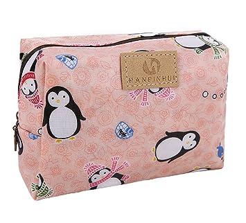 ba47decc693b Cute Travel Makeup Pouch Cartoon Printed Toiletry Cosmetic Bag for Girls,  Women (Penguin)