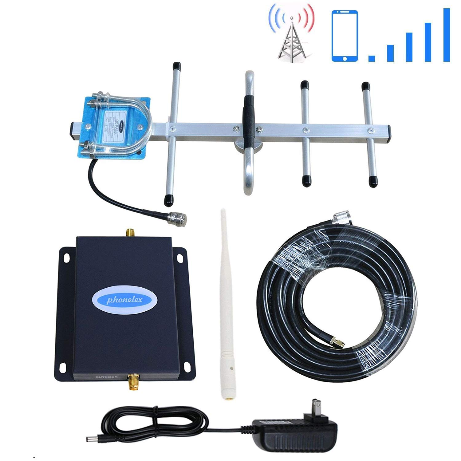 Cell Phone Signal Booster AT&T 4G LTE Cell Signal Booster Amplifier ATT Cell Phone Booster Repeater 700Mhz Band12/17 Phonelex ATT T-Mobile Mobile Phone Signal Booster with Whip+Yagi Antenna Kits by PHONELEX