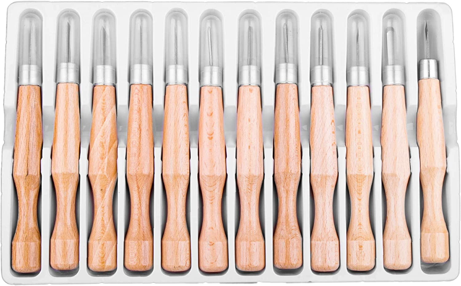 Hi-Spec 12 Piece Wood Carving & Crafting Set for Chip & Relief Carving, Whittling & Carving for DIY Craftwork & Hobbyists. Chisels, Angled Knives & Gouges with Beechwood Handles