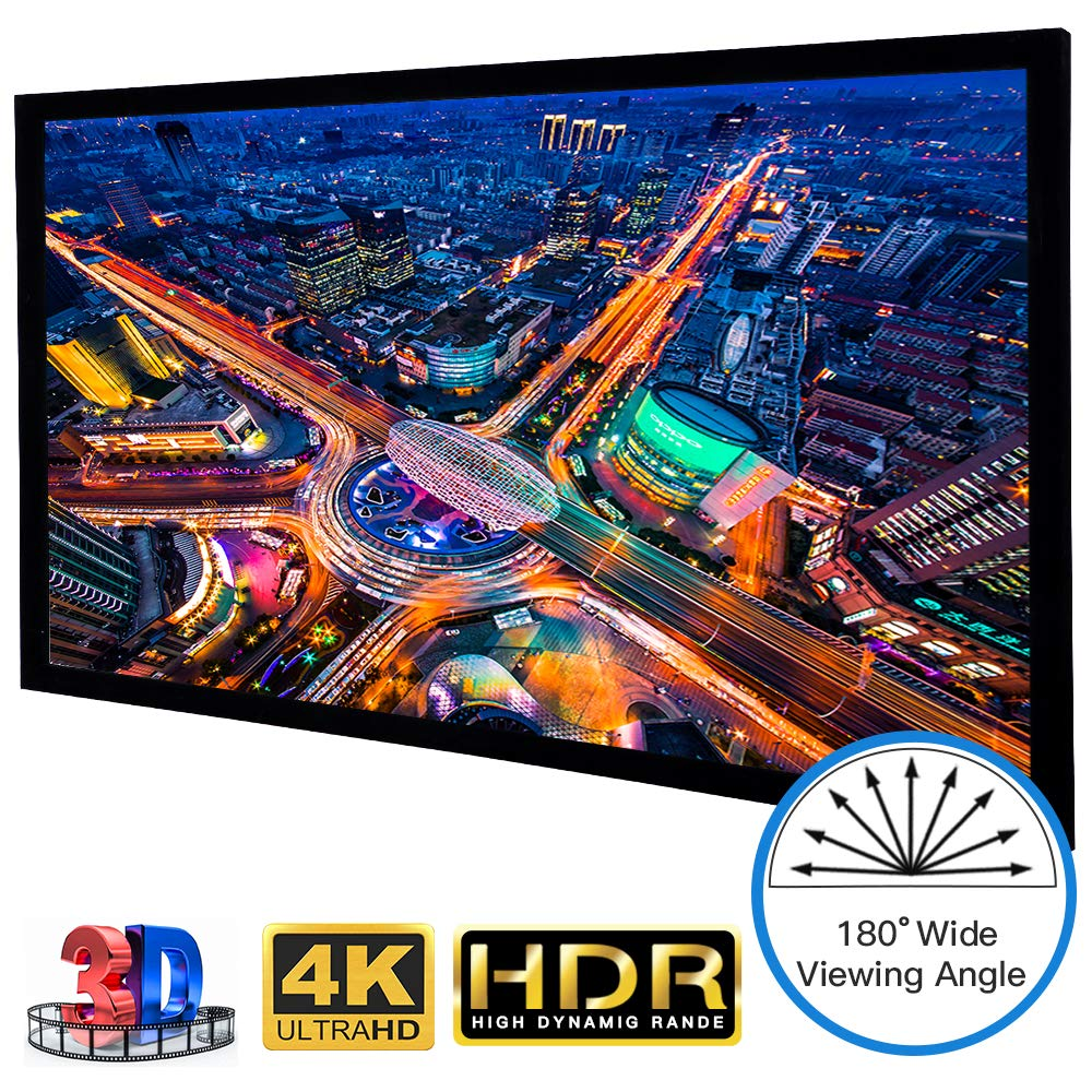 Large Fixed Frame Projector Screen HDTV Format 120 Inch 16:9, Wrinkle-Free Home Theater Cinema Movie Projection Screen