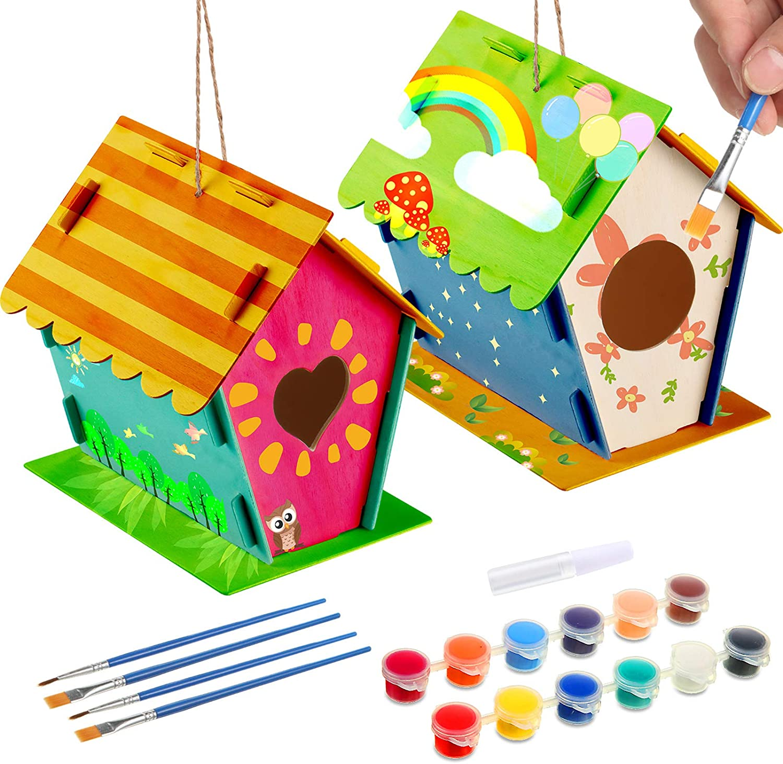 BBTO 2 Juegos Kit de Casa de Pájaros de Madera de DIY Kit de Construir y Pintar Pajareras con 4 Pinceles y 1 Pegamento para Niños y Niñas