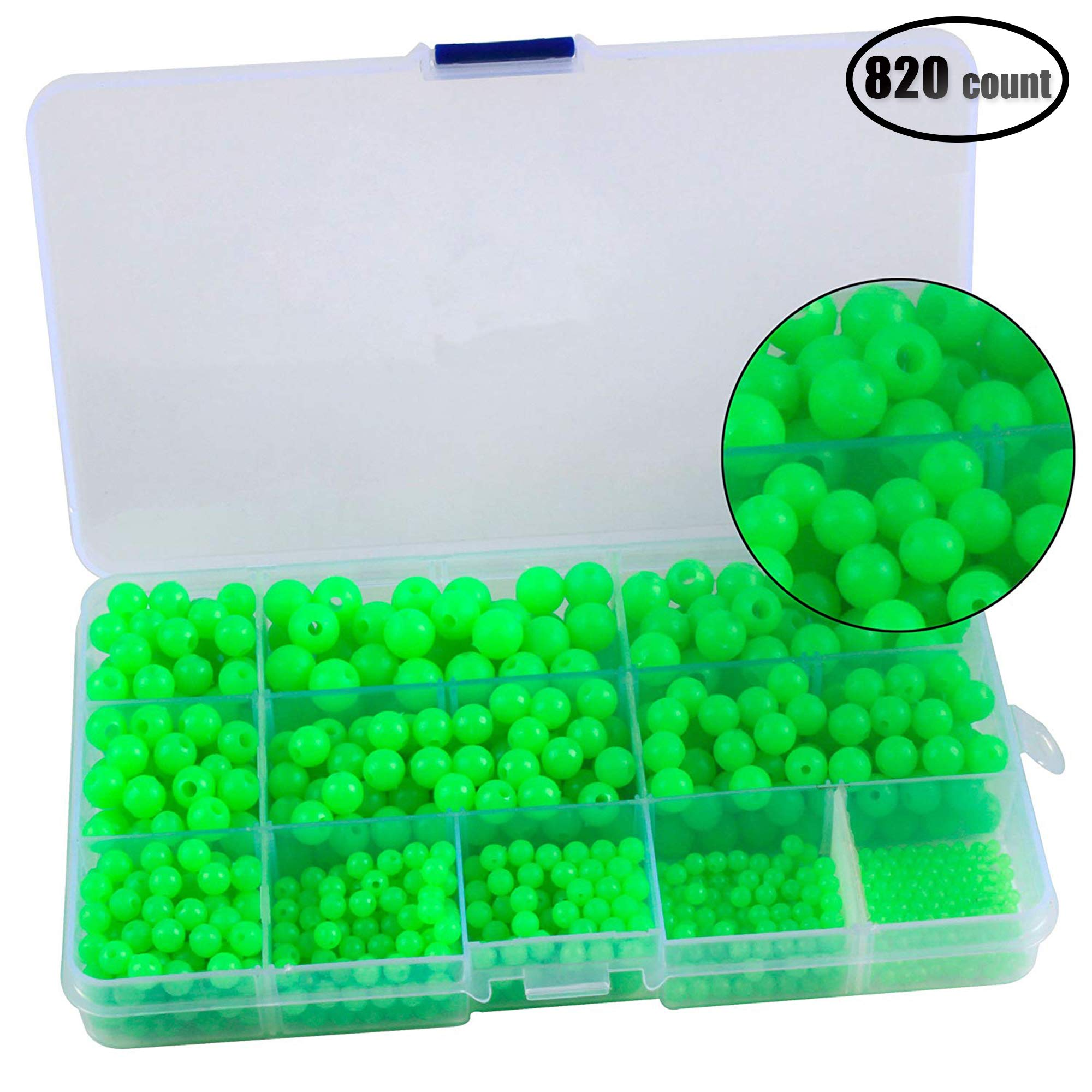 IZTOSS 820pcs/box 3-10mm Round Shaped Glow Fishing Beads Eggs Kit Accessories for Rigs Leaders