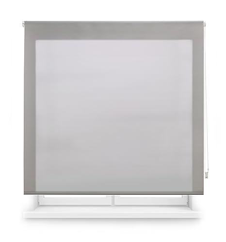 Blindecor Ara - Estor enrollable translúcido liso, 140 x 175 cm, color plata
