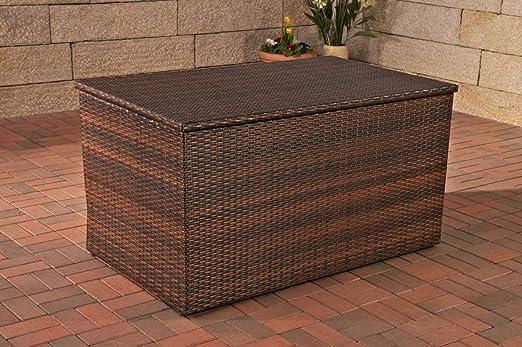 Arcón, cojín Caja, Jardín baúl XL, polirratán ~ marrón ...