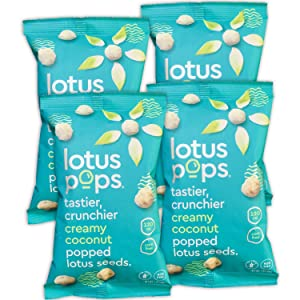 Lotus Pops - Popped Lotus (Water Lily) Seed Snacks – Low Calorie Gluten Free Snacks | Plant Protein | Roasted Not-Fried | Paleo | GrainFree | Non GMO | Healthy Dessert | (Creamy Coconut 4 2oz Packs)