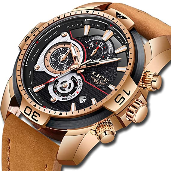 LIGE Relojes para Hombre Militar Impermeable Deporte Cuarzo Analógico Reloj  Gents Cronógrafo Fecha Calendario Cuero Marrón Reloj de Pulsera  Amazon.es   ... cb7f3ec60f47