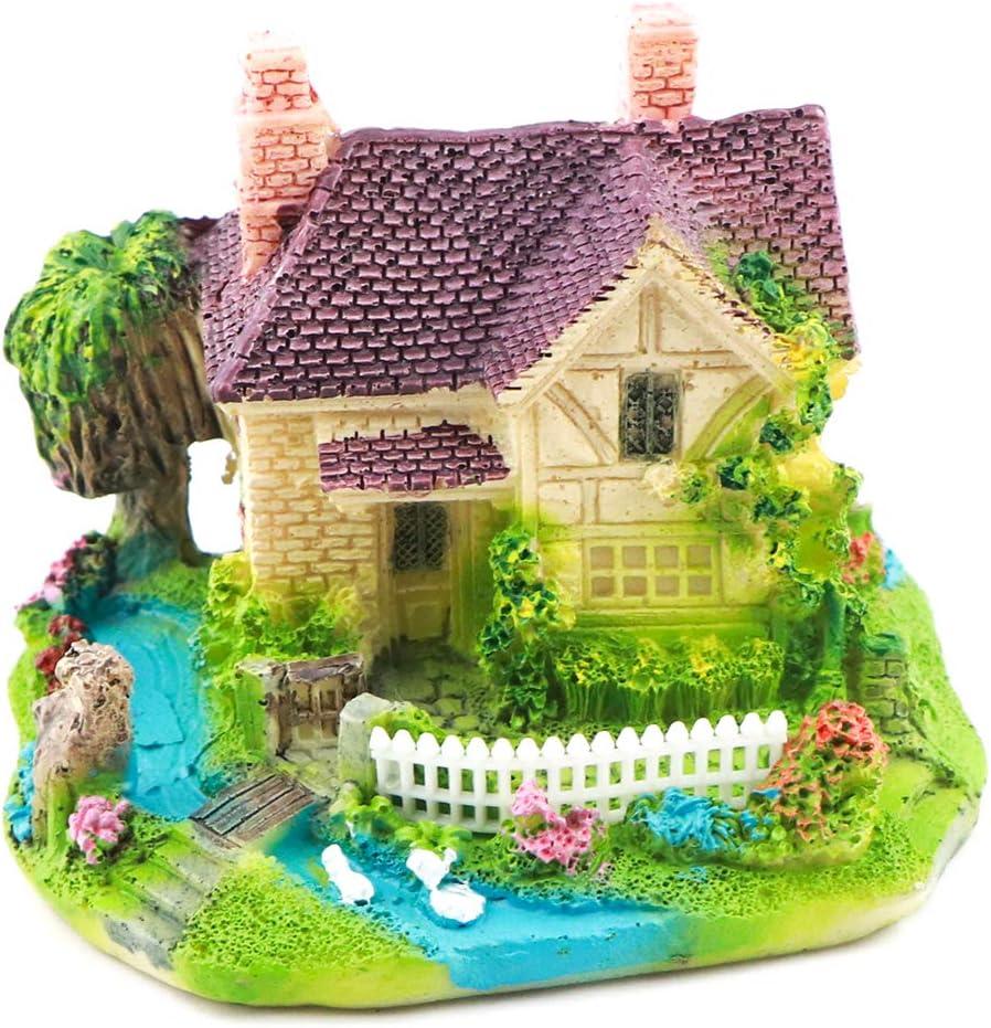 Aqua KT Garden Micro Miniature Fairy Garden Brick House for DIY Outdoor Home Pot Aquarium Landscape Decoration