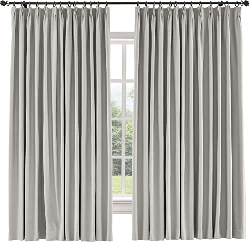 TWOPAGES 150 W x 96 L inch Pinch Pleat Blackout Curtain for Bedroom Cotton Blend Room Darkening Blackout Curtains, 1 Panel, Stone Taupe