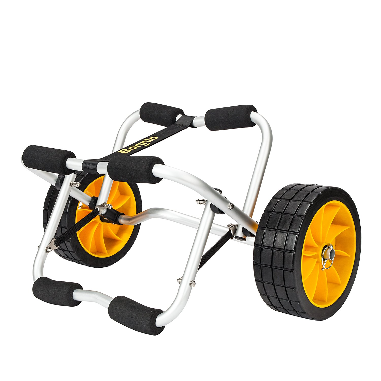 Bonnlo CART-CANOE Kayak Boat Carrier Tote Trolley Transport with PU Solid Tires Wheel Yellow