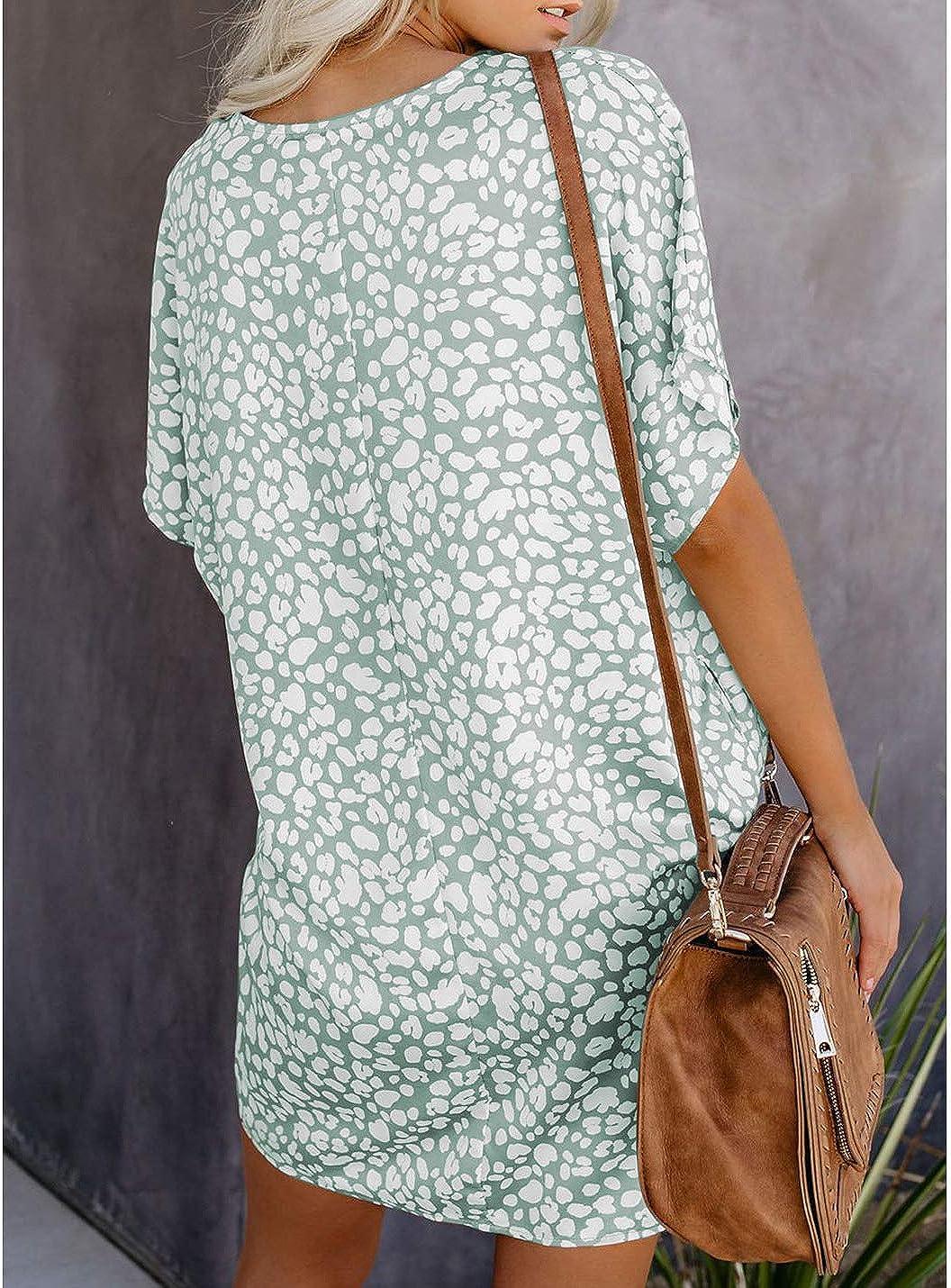 Ailunsnika Womens V Neck Tunic Mini Casual Dress Short Leopard T Shirt Dresses with Pockets