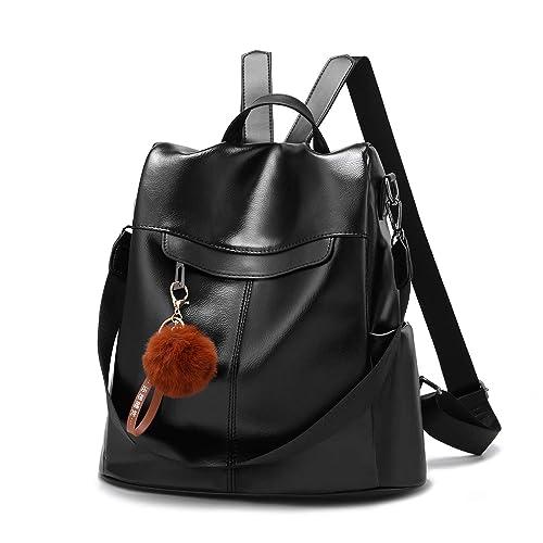 96e88c739e1 Women Backpack Purse Waterproof PU Leather Travel Anti Theft Rucksack  Lightweight School Shoulder Bag