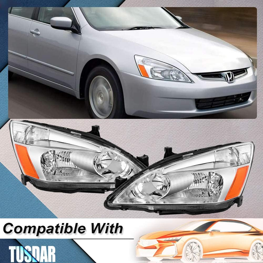 Headlight Assembly Set Replacement for 2003-2007 Honda Accord Chrome Housing Headlamp Driver and Passenger Side Front Lights Pair Chrome Housing