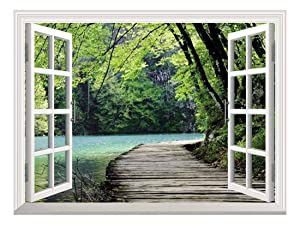 wall26 Modern White Window Looking Out Into a Bridge by a Lake Surrounded by Trees - Wall Mural, Removable Sticker, Home Decor - 24x32 inches
