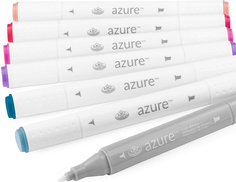 Royal and Langnickel - Azure Artist Markers - Dual Tip - 5 Colours + Blender - Dusk Set of 6