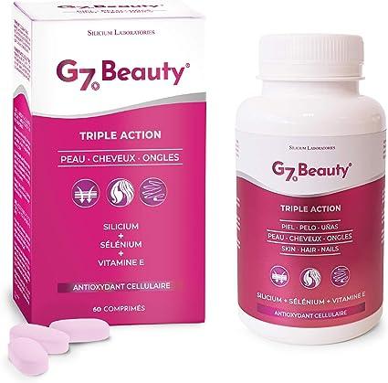 SILICIUM G7 BEAUTY   Vitaminas Para Piel, Crecimiento del Cabello y Endurecedor de Uñas   Multivitaminas Con Vitamina E, Silicio Orgánico y Selenio   Para Mujer y Hombre: Amazon.es: Belleza
