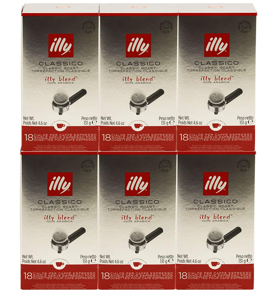 illy Caffe Espresso, (Medium Roast, Red Band), 18-Count E.S.E. Pods 4.4 oz (Pack of 6)