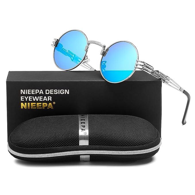 8854f15fd079 Steampunk Round Polarized Sunglasses Retro Vintage Circle Spring Style Frame  Metal Hippie Sun Glasses for Men