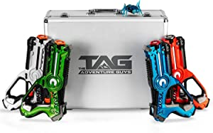 The Adventure Guys Deluxe Lazer Tag Gun Set with Designer Case - Laser Tag Guns Set of 4 for the Whole Family - Premium Lazer Tag Set w/ Bonus Bitsy Bot for Target Practice - Fun Laser Tag for Kids!