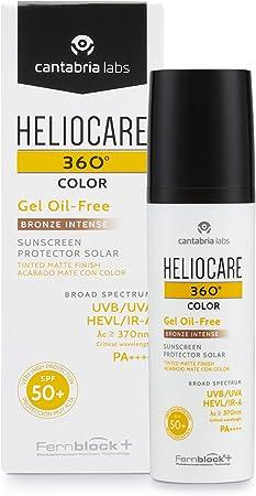 Heliocare 360° Color Gel Oil Free Protector solar acabado mate con color SPF 50+, 50 ml - Bronze Intense