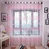 🌸Tulle Voile Door Window Curtain Drape Panel Sheer Scarf Valances,Jimmkey Flower Sheer Curtain Tulle Window Treatment Voile Drape Valance 1 Panel Fabric,Single Panels Top Unlined Curtain Panels,Tassels Curtain Tiebacks Curtain (Pink, 200cm x 100cm)