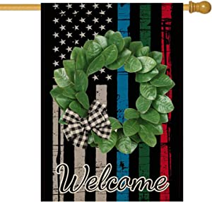 Molili Welcome Blue Green and Red Line American Flag Magnolia Wreath Garden House Flag Vertical Double Sided Honoring Police Military Fire Officer Flag Yard Outdoor Decoration 28x40inch