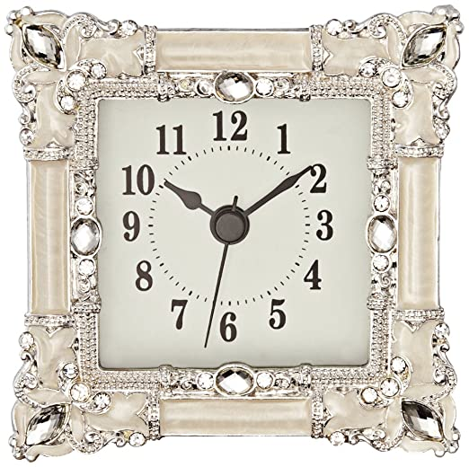 Kenova White And Silver Jeweled Table Clock By Universal Lighting And Decor:  Amazon.in: Home U0026 Kitchen