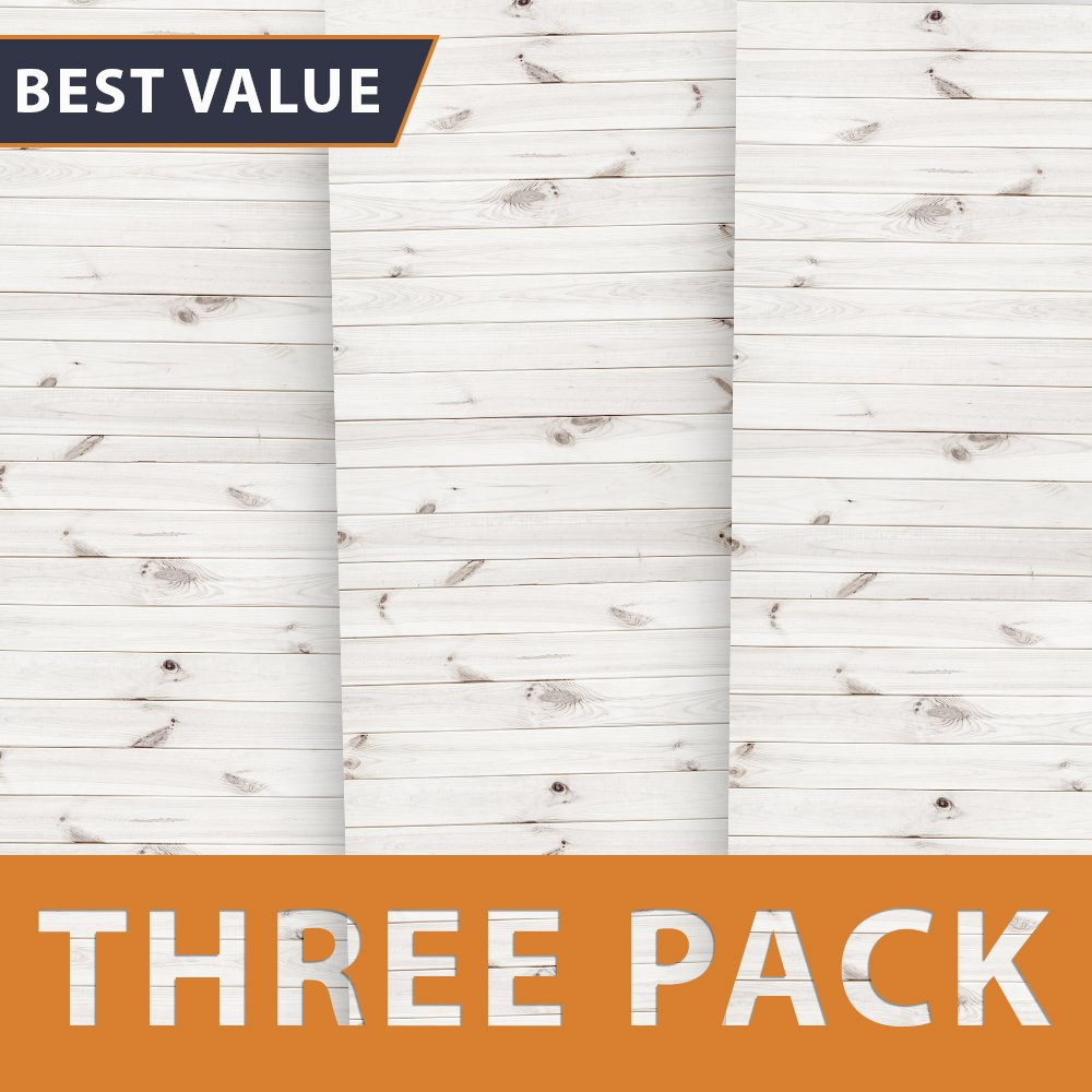 Premium Background Paper For Photography - White Wood 3 Pack - 4x12 Foot Rolls - Ideal Paper Backdrop For Your Home - Cute Wood Photography Backdrops for Baby Pictures, Headshots, and More!