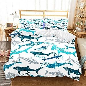 APJJQ Shark Duvet Cover Sets Full/Queen 3D Microfiber Blue/Gray Sharks Bedspread Wave Surf Beach Printed Shark Bedding Set for Kids Boys Girls with Pillowcase White