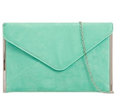 e8e4337ad6 Mint Green Envelope Clutch Bag, Faux Suede Evening Bag Silver Tone Trim,  Ladies Royal Blue Shoulder Bag, Womens Prom Wedding Handbag: Amazon.co.uk:  Shoes & ...