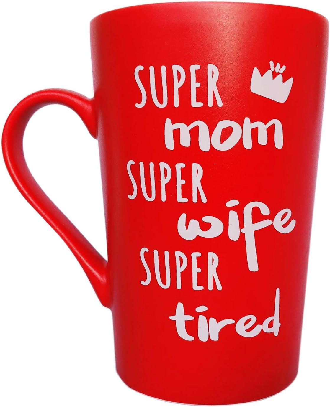 Taza de café divertida para el día de la madre regalos de Navidad para mamá, esposa, Super mamá, Super esposa, Super Cansado, bonito regalo de hija, hijo o marido, taza de diversión roja, 12 onzas