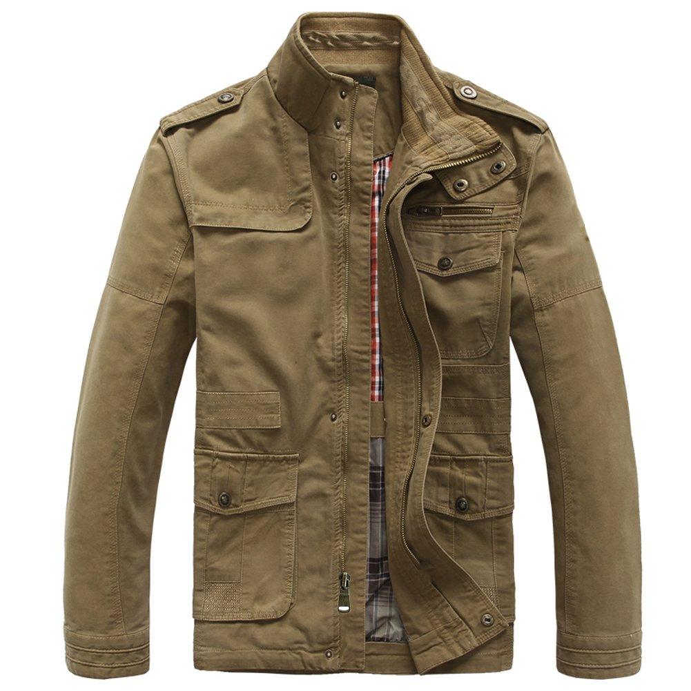 Heihuohua Men's Classic Field Coat Cotton Stand Collar Military Windbreaker Jacket, Khaki, Medium