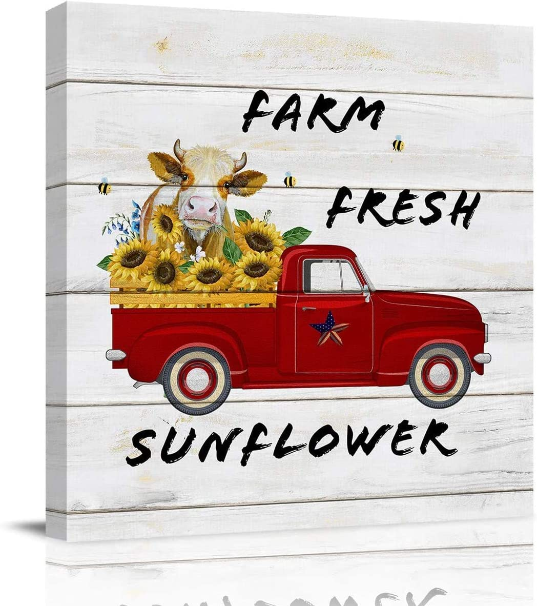 Canvas Print Wall Art Painting Decor, Vintage Wooden Red Truck Carry Farm Fresh Sunflowers and Cow, Modern Home Decorations Giclee Artwork HD Picture and Artwork (12x12inch NO Framed)
