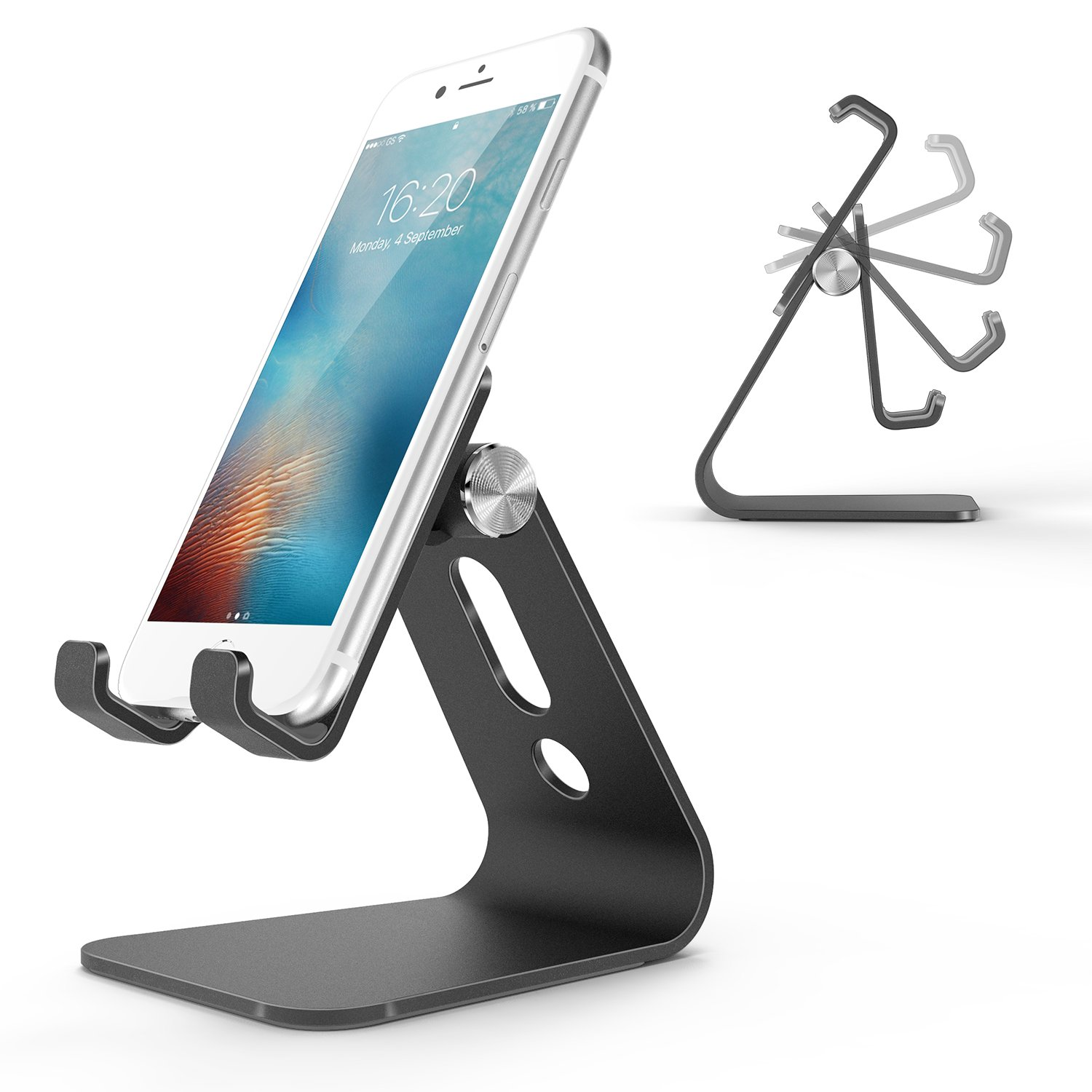 Cell Phone Stand, OMOTON Adjustable Aluminum Desktop Cellphone Tablet Stand Holder for Cellphones, iPhone and E-readers, Black by OMOTON (Image #1)