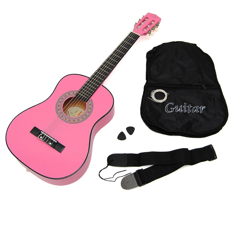 ts-ideen 5253 - Guitarra acústica infantil (tamaño 1/2, para 6-9 años aprox, con funda, correa, cuerdas y púa), color rosa