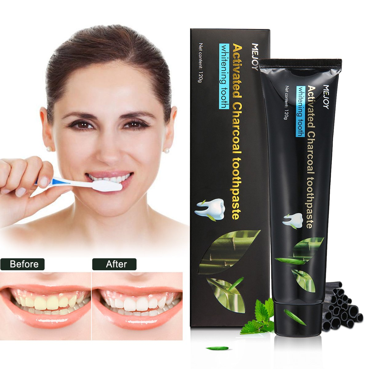 Whitening Toothpaste, Y.F.M 4.2oz Activated Charcoal Teeth Health Toothpaste, Improves Oral Health and Freshens Breath, Removes Tooth Stains Teeth Care