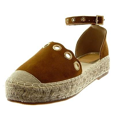 Angkorly Chaussure Mode Sandale Espadrille Plateforme Lanière Cheville Femme Perforée Doré Corde Talon Bloc 3.5 cm