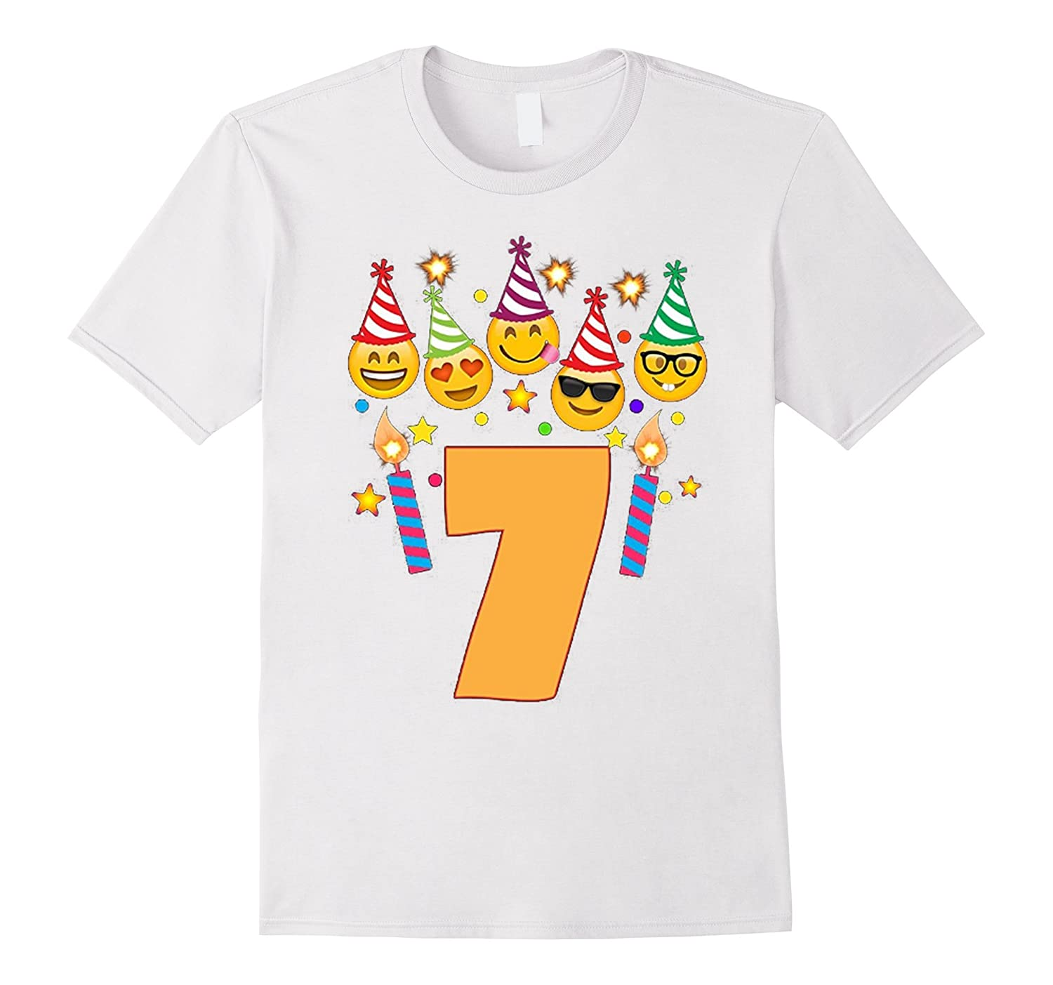 Emoji Birthday Shirt For 7 Seven Year Old Girl Boy Toddler TD