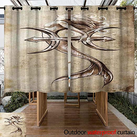 Onefzc Cortinas Arandelas para Exteriores, decoración de Sirena ...