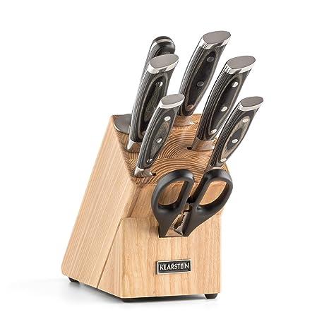 Klarstein Katana 8 Set de cuchillos con soporte de madera y ...