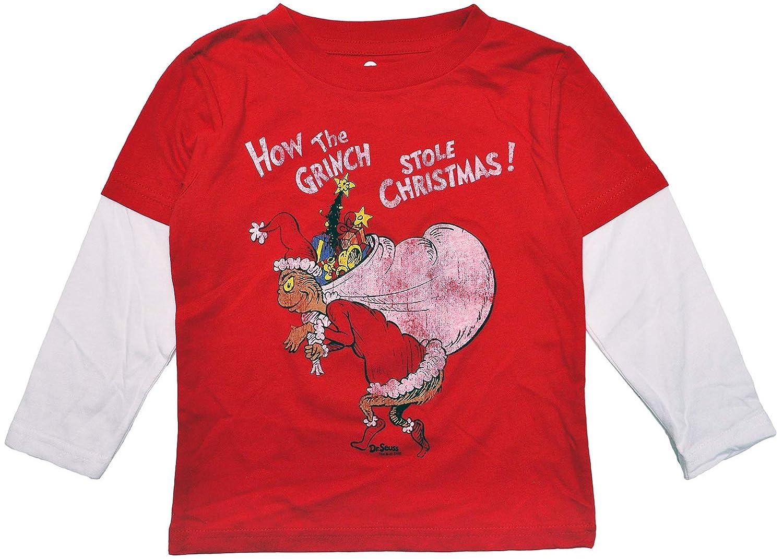 Dr. Seuss Grinch Toddler Boys T-Shirt How Stole Christmas Print Long Sleeve Tee