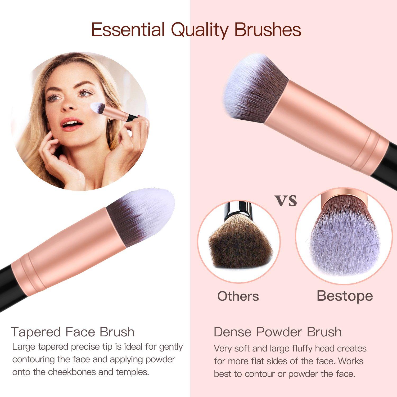 31f84f7bf5f00 Set de brochas de maquillaje profesional BESTOPE 16 piezas Pinceles de  maquillaje Set Premium Synthetic Foundation Brush Blending Face Powder  Blush ...
