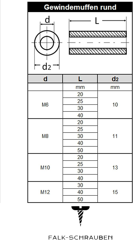 Gewindemuffen M16 x 40 rund D25 5 St/ück Edelstahl A2 V2A VA Falk-Schrauben Distanzmuttern Verbindungsmuttern Langmuttern