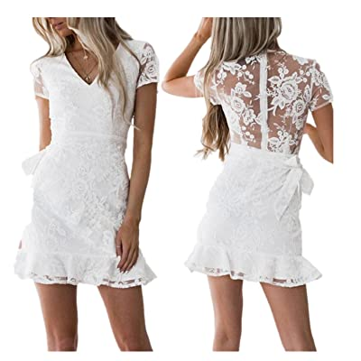 BSGSH Women Elegant V Neck See Through Floral Lace Back Splicing Ruffle Mini Dress for Cocktail Party