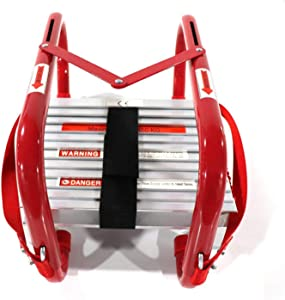 Fire Escape Ladder 2 Story Windows for Adults & Kids | Portable fire Emergency Escape Ladder from Balcony| 15 Foot fire Safety Ladder with Anti-Slip Rungs